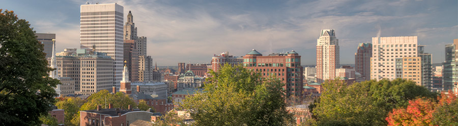 Providence cityscape with trees
